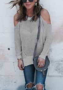 Grey Cut Out Sleeve Knitted Casual Going out Pullover Sweater