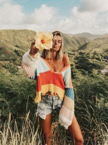 Yellow Striped Print Rainbow Irregular Tassels V-back Deep V-neck Sweet Sweater