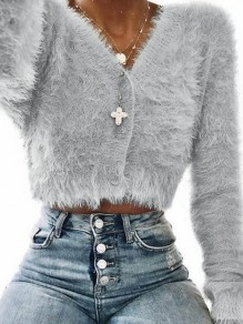 Grey Fur Furzzy Crop Single Breasted Casual Cardigan Sweater