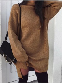 Khaki Side Slit High Neck Long Sleeve Casual Pullover Sweater