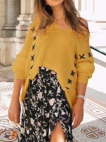 Yellow Asymmetric Shoulder V-neck Going out Fashion Pullover Sweater