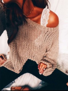 Khaki Print Long Sleeve Casual Cotton Blend Pullover Sweater