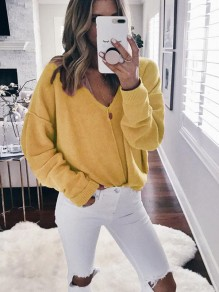 Yellow Print V-neck Long Sleeve Casual Pullover Sweater