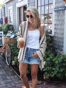 Apricot Striped Long Sleeve Casual Going out Outdoors Cardigan