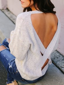 Beige Cut Out Backless Long Sleeve Casual Pullover Sweater