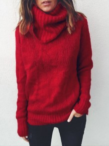 Red High Neck Casual Pullover Sweater