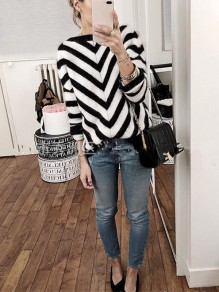 Black Striped Round Neck Long Sleeve Casual Sweater