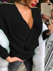 Black Print V-neck Long Sleeve Casual Pullover Sweater