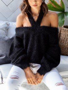 Black Off Shoulder Halter Neck Fuzzy Backless Slouchy Casual Pullover Sweater