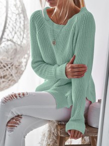 Blue-Green Double Slit Round Neck Cute Pullover Sweater
