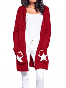 Red Pockets Print Hooded Long Sleeve Casual Cardigan Sweater