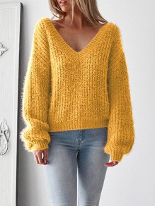 Yellow Tie Back Backless V-neck Long Sleeve Oversize Slouchy Pullover Sweater
