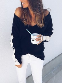 Black Deep V-neck Long Sleee Casual Knit Pullover Sweater