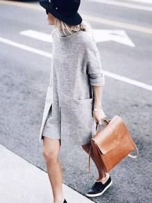 Grey Pockets Slit High Neck Fashion Pullover Sweater