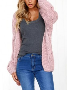 Pink Print Round Neck Fashion Cardigan Sweater