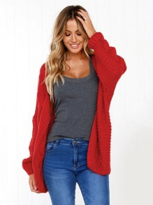 Red Print Round Neck Fashion Cardigan Sweater