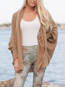 Khaki Irregular Cut Out High-low Knitwear Dolman Sleeve Office Worker Casual Bohemian Cardigan Sweater