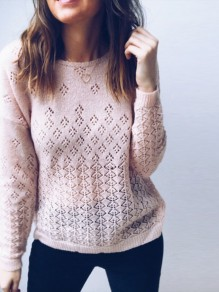 Pink Cut Out Buttons V-neck Long Sleeve Cardigan Sweater