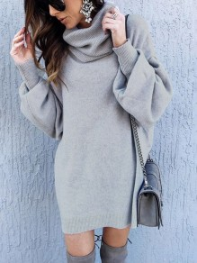 Grey High Neck Long Sleeve Fashion Pullover Sweater