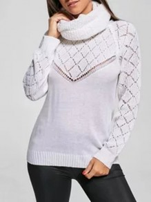 White Cut Out High Neck Long Sleeve Casual Sweater