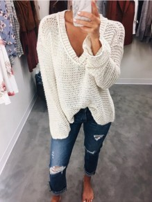 White Cut Out Long Sleeve V-neck Sweet Going out Pullover