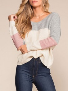 Grey Patchwork Cross Back Round Neck Fashion Pullover Sweater