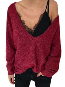 Wine Red Asymmetric Shoulder Plunging Neckline Long Sleeve Casual Sweater
