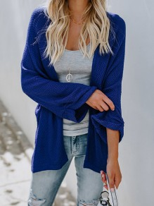 Blue Plain Draped Dolman Sleeve Going out Cardigan Sweater