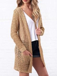 Khaki Cut Out Long Sleeve Sweet Going out Casual Cardigan