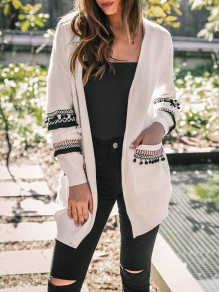 White Patchwork Pockets Ruffle Tassel Long Sleeve Casual Cardigan Sweater