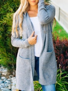 Grey Pockets Long Sleeve Sweet Going out Casual Cardigan