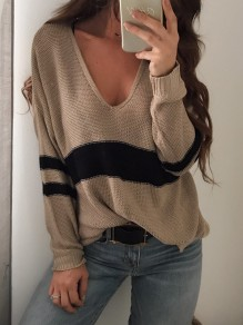 Khaki Striped Irregular Side Slit Plunging Neckline Long Sleeve Casual Sweater