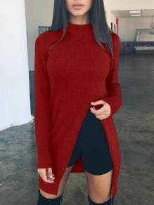 Red Irregular Side Slit Draped High Neck Long Sleeve Casual Sweater