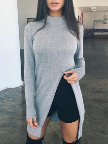 Grey Irregular Side Slit Draped High Neck Long Sleeve Casual Sweater