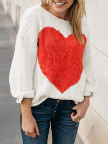 White Print Long Sleeve Round Neck Pullover Sweater