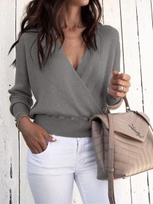Grey Long Sleeve V-neck Casual Sweet Going out Pullover Sweater