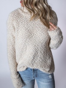 White Patchwork High Neck Casual Pullover Sweater