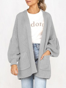 Grey Pockets No Buttons Balloon Sleeve Casual Cardigan Sweater