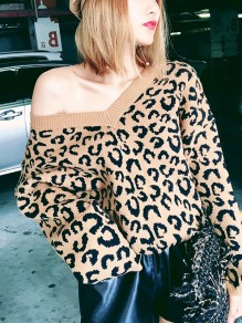 Khaki Leopard Print Oversize V-neck Casual Fashion Slouchy Pullover Sweaters