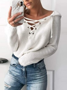White Print Cut Out Long Sleeve Going out Pullover Sweater