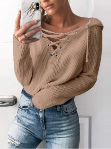 Khaki Print Cut Out Long Sleeve Going out Pullover Sweater