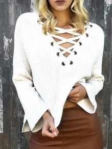 White Drawstring Long Sleeve Round Neck Casual Sweet Going out Pullover