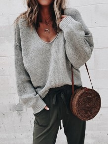 Light Grey V-neck Long Sleeve Casual Pullover Sweater