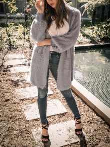 Grey Pockets Long Sleeve Casual Fuzzy Teddy Sweater Cardigan