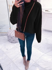 Black High Neck Long Sleeve Fashion Pullover Sweater