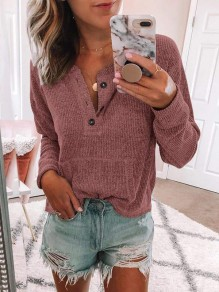 Pink Buttons Pockets Round Neck Long Sleeve Casual Pullover Sweater
