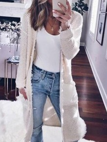 White Pockets Cut Out Round Neck Long Sleeve Casual Cardigan