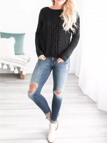 Black Cut Out Long Sleeve Casual Going out Pullover Sweater