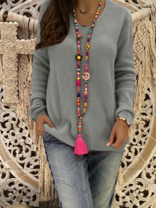 Grey Plain Long Sleeve V-neck Going out Pullover Sweater