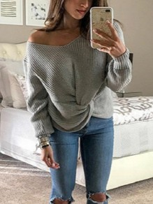 Grey One Shoulder Irregular V-neck Long Sleeve Casual Pullover Sweater